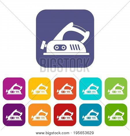 Jack plane icons set vector illustration in flat style In colors red, blue, green and other