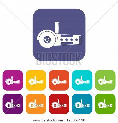 Circular saw icons set vector illustration in flat style In colors red, blue, green and other