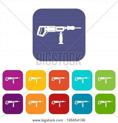 Electric drill, perforator icons set vector illustration in flat style In colors red, blue, green and other