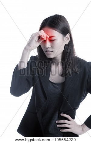 Young Asian Business Woman Got Sick And  Headache.
