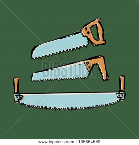 Set of cartoon hand-saws in the style of colored doodles