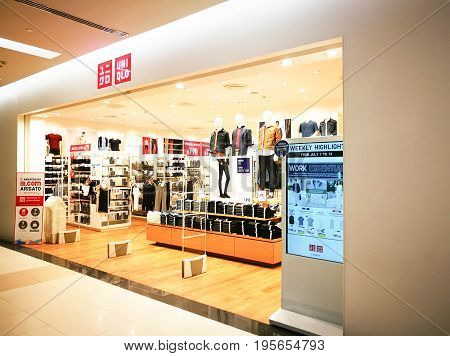 BANGKOK THAILAND July 13th 2017: Uniqlo store At Fashion Island Department Store. Uniqlo Co. Ltd. is a Japanese Casual Wear Designer Manufacturer And Retailer.