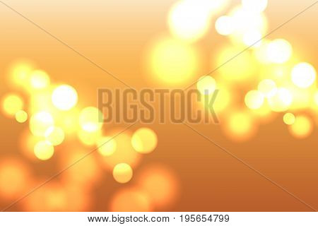 Abstract blurred lights background. Luminous golden dots on orange backdrop. Element for your design. Vector eps 10