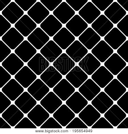 Abstract geometric black and white seamless square pattern background - simple halftone vector graphic from diagonal rounded squares
