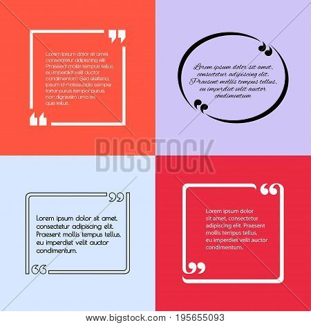 Digital vector quote frames box set blank template with print information design icon, empty citation, flat style