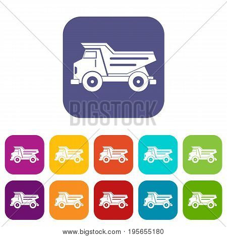 Dump truck icons set vector illustration in flat style In colors red, blue, green and other