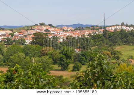 Houses and trees in Cercal village Alentejo Portugal