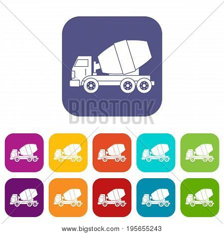 Truck concrete mixer icons set vector illustration in flat style In colors red, blue, green and other