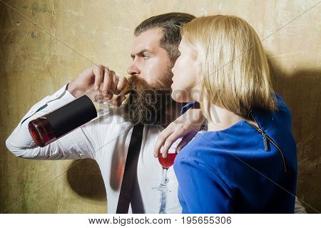 Girlfriend And Boyfriend With Alcoholic Drinks
