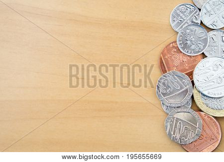 Pile of Modern British Coins, money, currency