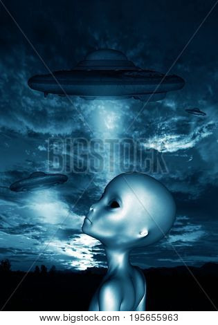 Alien in the dark,3D illustration concept and ideas background