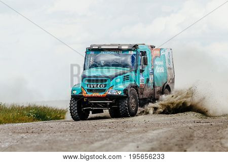 Filimonovo Russia - July 10 2017: truck rally car Iveco driving on a dust road during Silk way rally