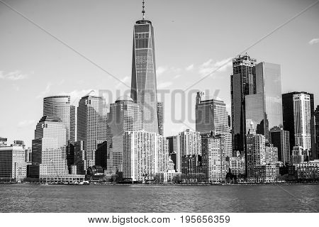 The skyline of Downtown Manhattan financial district with One World Trade Center building- MANHATTAN - NEW YORK