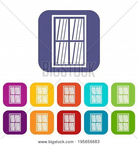 White latticed rectangle window icons set vector illustration in flat style In colors red, blue, green and other