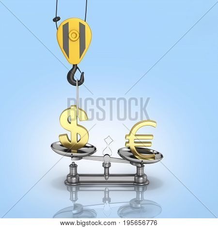 Concept Of Exchange Rate Support Dollar Vs Euro The Crane Pulls The Dollar Up And Lowers The Euro On