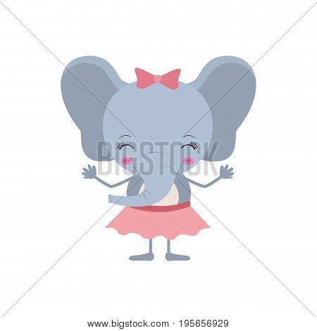 colorful caricature of cute happines expression female elephant in skirt with bow lace vector illustration