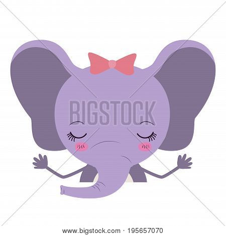 colorful caricature half body of cute happines expression female elephant with bow lace vector illustration