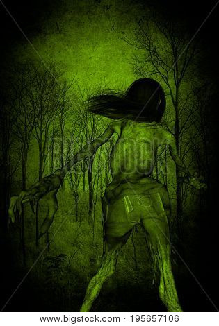 3d illustration of scary ghost woman in the forest