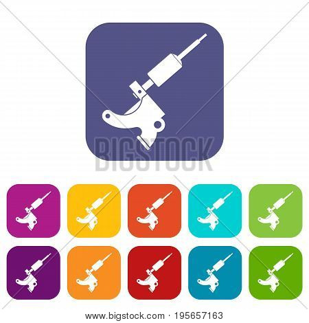 Coil tattoo machine icons set vector illustration in flat style In colors red, blue, green and other