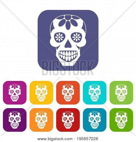 Sugar skull, flowers on the skull icons set vector illustration in flat style In colors red, blue, green and other