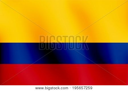 Flag of Colombia with a little Waving, Shading & Flag Colors separated layers - Vector Illustration