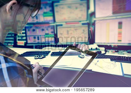 Double exposure of women Engineer in hipster shirt working with tablet in control room of oil and gas platform or plant industrial for monitor process business and industry concept.