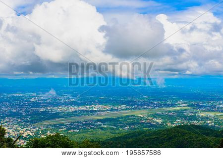 view point of Chiangmai Town with beautiful clouds Thailand. This view from Wat Phrathat Doi Suthep temple.