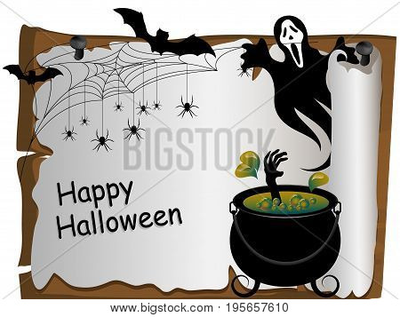 Witches cauldron with her hand inside - Halloween card