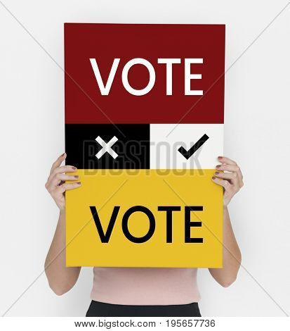 Vote sign in front of a girl