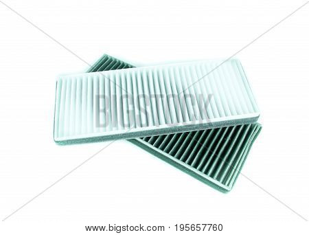 new and used air filter for car on white background