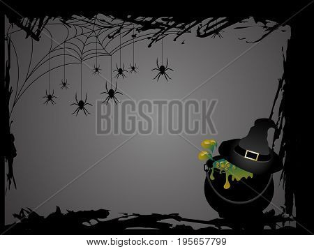 Witches cauldron with her hat - Halloween card