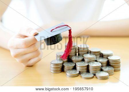 Education coins, money, saving, graduation, currency, finance