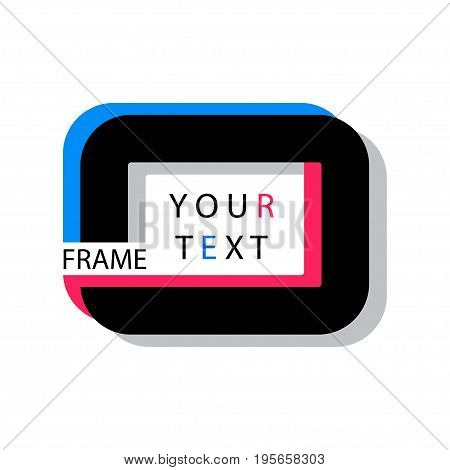 Digital vector black quote frames box blank template with print information design icon, empty citation, flat style