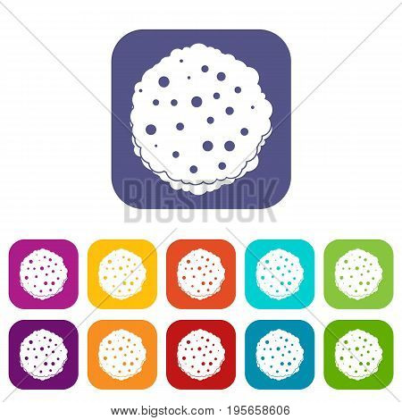 Cutlets icons set vector illustration in flat style In colors red, blue, green and other