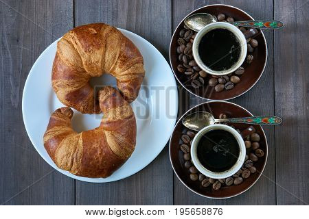 Romantic Morning Breakfast Two Shots Of Espresso And Two Croissants