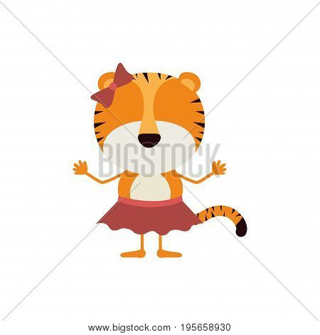 colorful caricature fasceless female tigress in skirt with bow lace vector illustration poster