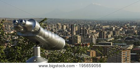 A beautiful view of Mountain Ararat and Yerevan city during the day.
