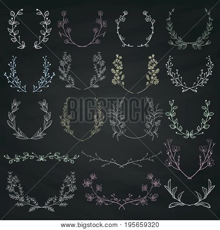 Chalk Drawing Hand Drawn Herbs, Plants and Flowers, Florals. Decorative Outlined Branches, Laurels, Brackets on Chalkboard Background Texture.Vector Illustration