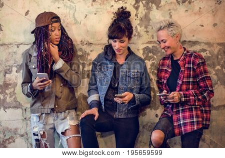 Women Friends Hands Hold Mobile Phone