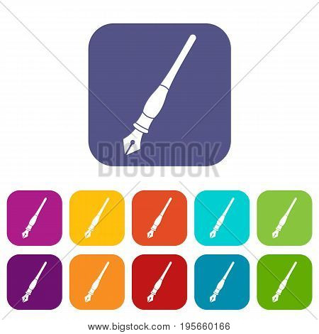 Ink pen icons set vector illustration in flat style In colors red, blue, green and other