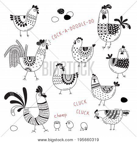 Vector images of chickens, hens, cocks, eggs in cartoon style, line art. Elements for design cover food package, advertising banner, card.
