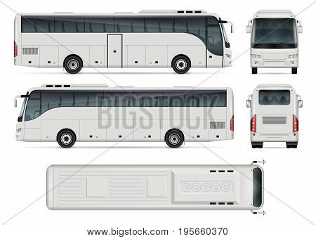 Bus vector template for car branding and advertising. Isolated coach bus set on white background. All layers and groups well organized for easy editing and recolor. View from side front back top.