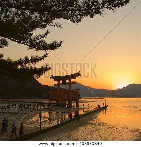 Miyajima, Japan - May 2017: Sunset at Itsukushima Shrine in Miyajima, Japan on May 2017