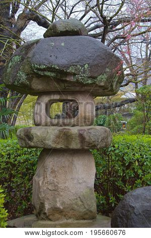 A traditional lantern made of stone in Japan
