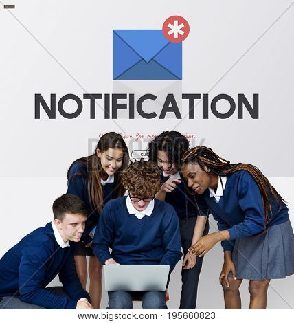 Group of students and digital device social connection
