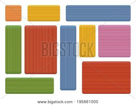 Pieces of wood, natural construction toy for children - set of colored building bricks in various shapes for to create a colorful tower, house, wall or any building. Vector illustration on white.