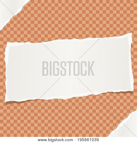 White note, notebook, copybook paper stuck on orange squared background