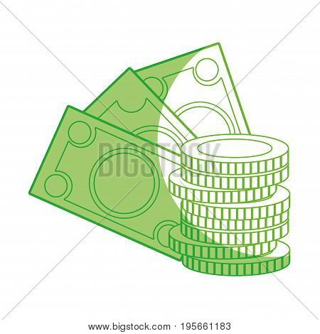 silhouette bills and coins cash moey currency vector illustration