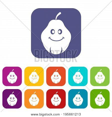 Smiling quince fruit icons set vector illustration in flat style In colors red, blue, green and other