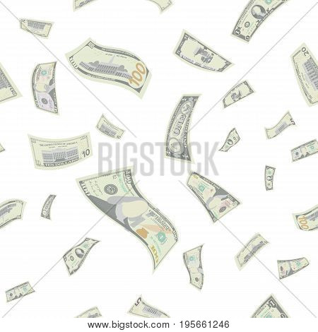 Flying US Dollars Seamless Pattern Vector. Cartoon Money Bills. Falling Finance Every Denomination In The Air Isolated